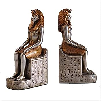 Statues,Egyptian King Pharaoh Bookends 2 Pieces/Set Ancient Resin Crafts Atlas Book End Art Home Desktop Decoration Accessories Figurines