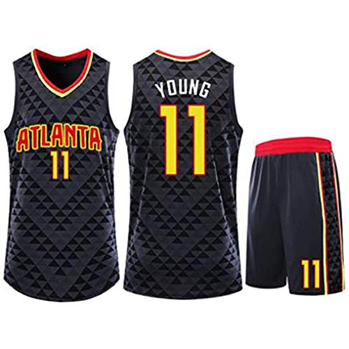 WRHH Basketball Trikot-Trae Young #11 Atlanta Hawks Kinder Erwachsene Anzug Jersey Atmungsaktiver Stoff Bequem Basketball Tops und Shorts Gr. XS, Schwarz