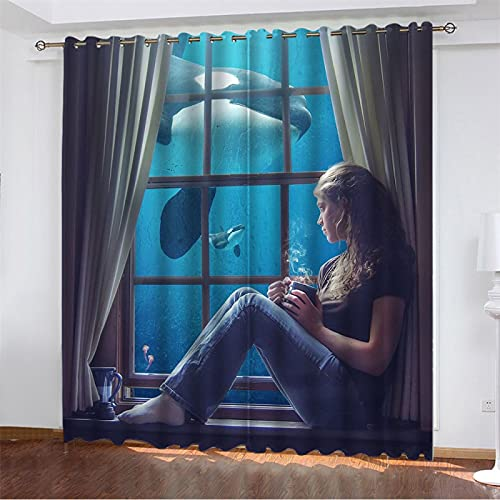 NQING Cortinas Perforadas Impresas Digitalmente De La Serie Animal Girl 3D, Cortinas De Poliéster Opacas Y De Reducción De Ruido 2xAN107xAL214cm