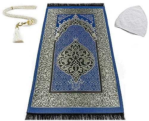 EDUS Turkish Muslim Prayer Rug, Gifts 99 Prayer Beads and Kufi Hats for Men, Cotton Islamic Prayer Mat for Men Women and Kids, Portable Carpet, Great Ramadan Gifts, Ottoman Rugs (Dark Blue)