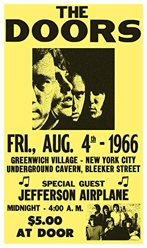 "The Doors - Jefferson Airplane - New York City 13""x22"" Vintage Style Showprint Poster - Concert Bill - Home Nostalgia Decor Wall Art Print Florida"