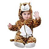 COOKY.D Infant Hooded Baby Rompers Animal Jumpsuit Soft Flannel Winter Cosplay Costume for Baby Girls Boys, 6-12 Months, Leopard