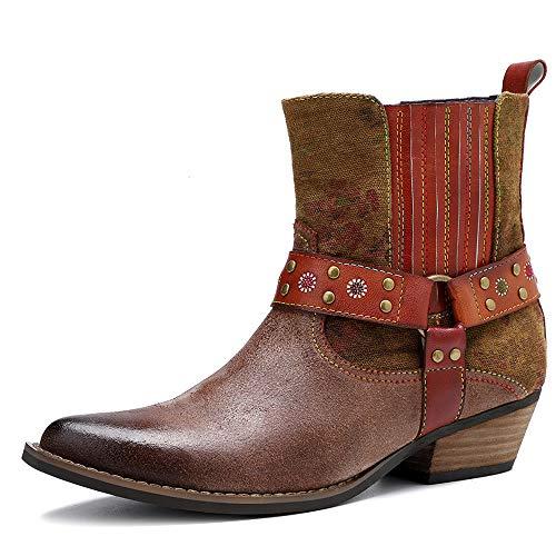 Donne Vintage Stivali alla Caviglia Scarpe da Donna Femminile di Cuoio Zip Breve Stivali,Marrone,37
