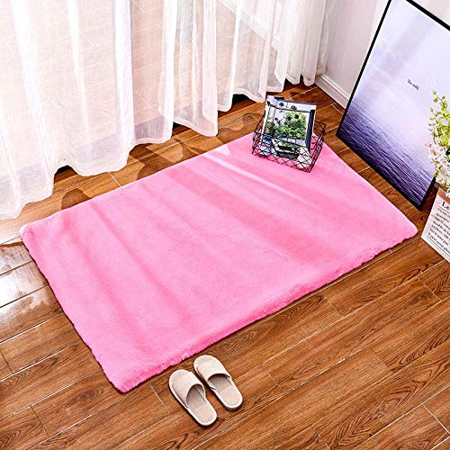 Alfombras de área mullidas Alfombra de Yoga Antideslizante para alfombras de Sala de Estar Dormitorio, Rosa Oscuro 60 * 180 cm Pelo Corto Rectangular