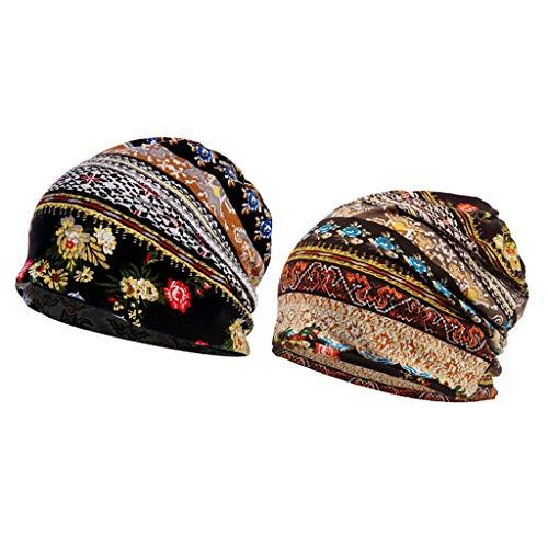 menolana 2 Peças de Gorro de Algodão Desleixado Chapéu Chemo Turbante Lenço para Queda de Cabelo Chapéu Dormir