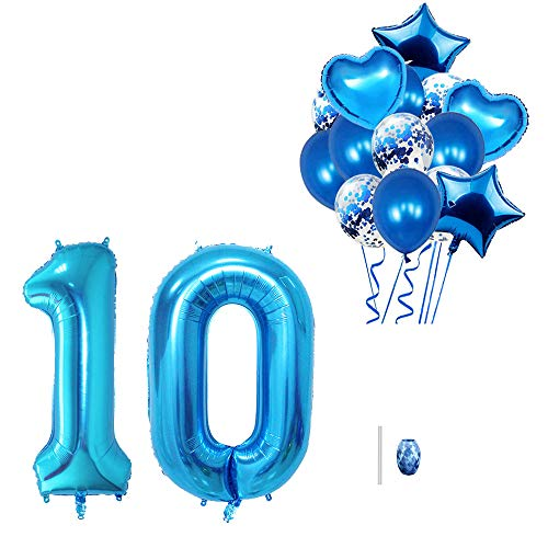 """Huture 40"""" Number 10 Balloon 18"""" Foil Heart Star Mylar Dot Confetti Balloon 12'' Sequin Latex Balloons Kit for Baby Shower Birthday Carnival Graduation Party Decor Atmosphere Layout, Blue"""