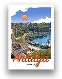 Antalya Türkei Art Deco Retro Stil Reise Poster
