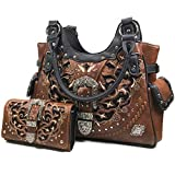 Zelris Women Tote Handbag Wallet Set Western Gleaming Buckle Floral Cowgirl Concealed Carry Purse (Brown)