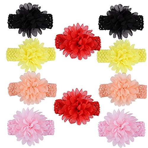 LAANCOO Banda de Encaje de Flores de Gasa Surtidos de los bebés 10pcs Las Vendas de Color Accesorios para el Cabello para los recién Nacidos Bebés Niños pequeños