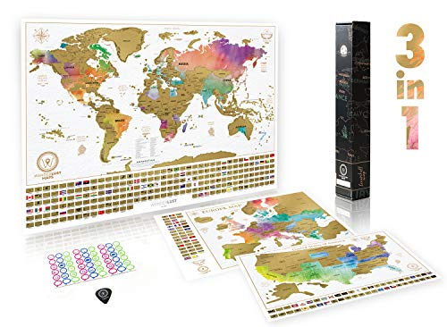 3 RubbelKarten – Weltkarte + US-Staaten-Karte (klein) + Europakarte – 3 Deluxe Reise-Poster zum Rubbeln für Erwachsene und Kinder – Made in Europe.