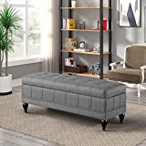 Storage Ottoman Bench 42.71' End of Bed Ottoman Tufted Design Storage Bench Linen Cube Foot Stool Holds up to 350Lbs Padded Seat Footrest Stool Organizer Storage for Bedroom Living Room (Grey)