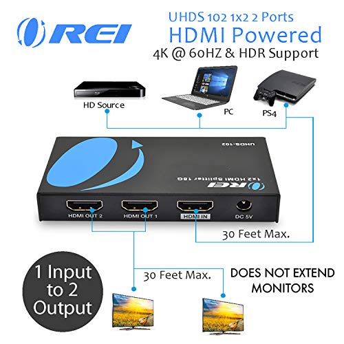 OREI UltraHD 4K @ 60 Hz 1x2 HDMI Splitter 1 in 2 Out (2 Port) HDMI 2.0, HDCP 2.2, 18 Gbps, HDR, 4K HDMI Splitter YUV 4:4:4 (UHDS-102)