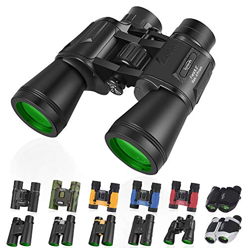 Kissarex Adults Compact Travel Binoculars: 12x50 Mini Small Size Lightweight Best Outdoor Theatre Tactical Hiking Kids Concert Sports Camping Low-Light Night Vision Waterproof