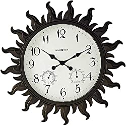 Howard Miller Sunburst II Wall Clock 625-543 – Indoor/Outdoor Metal Frame with Quartz Movement
