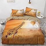 CJCN - Juego de funda de edredón 3D de jirafa, diseño de unicornio, 200 x 200 cm