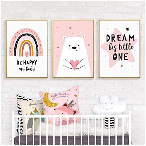 Cuadro en lienzo Love Bear Pink Rainbow Happy Dream Nursery Wall Art Prints Poster Picture Girls Dormitorio Decoración del hogar (Marco) 30x40cmx3 artppolr