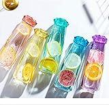 Oubaiyi botella de agua de vidrio 300 ml transparente colorido libre de BPA pequeña botella de agua caliente portátil bebidas frías color aleatorio entregado