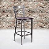 Flash Furniture 2 Pk. HERCULES Series Clear Coated ''X'' Back Metal Restaurant Barstool - Mahogany Wood Seat