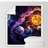 Plan Of Salvation Manta para cama Planet Sherpa Blanket Galaxy Nebula Soft Plush Cubrecamas Space Blanket 150 * 200Cm