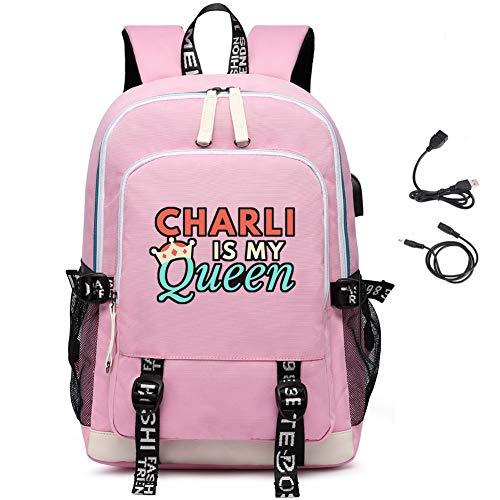LKY STAR Unisex Queen Charli D'Amelio Sacchetto di scuola con porta USB di ricarica Daypack Zaino Viaggio Backpack