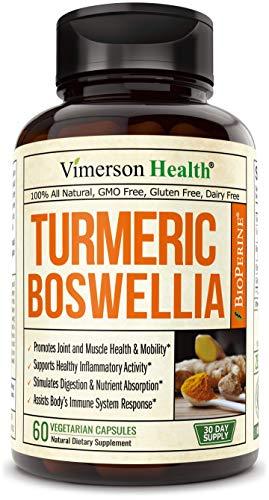 Turmeric Curcumin with BioPerine, Boswellia and Ginger. Advanced Turmeric Combination. Promotes Cartilage Function. Vegan, Gluten-Free, Non-GMO, Natural. 60 Vegetarian Capsules.