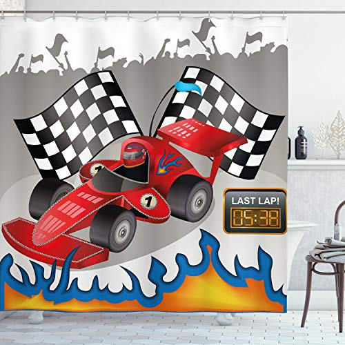 Ambesonne Cars Shower Curtain, Race Car Finish Line Flags Pilot Flames Abstract Plain Background Print, Cloth Fabric Bathroom Decor Set with Hooks, 70' Long, Multicolor