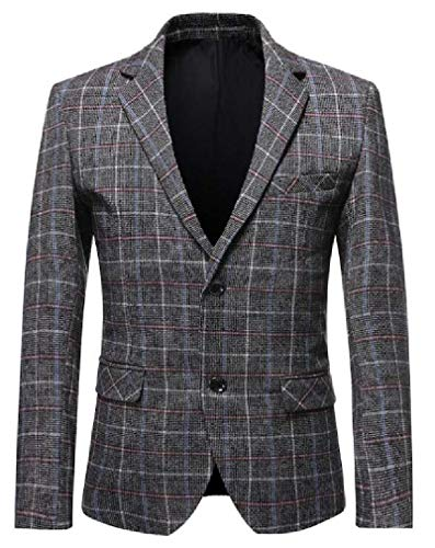 ULIULINH Bike Männer Herbst-Winter-Plaid-Druck Beiläufiges Geschäft-2-Knopf Slim Fit-Kleid-Blazer-Jacken-Sport-Mantel Trainieren (Color : Gray| Size : Medium) | Sportbekleidung > Sportmäntel | ULIULINH