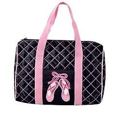 Danshuz Womens Girls Pink Quilted On Pointe Black Satin Duffle Bag