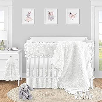 Sweet Jojo Designs White Floral Rose Baby Girl Nursery Crib Bedding Set - 5 Pieces - Solid Flower Luxurious Elegant Princess Vintage Boho Shabby Chic Luxury Glam High End Ruffle Roses