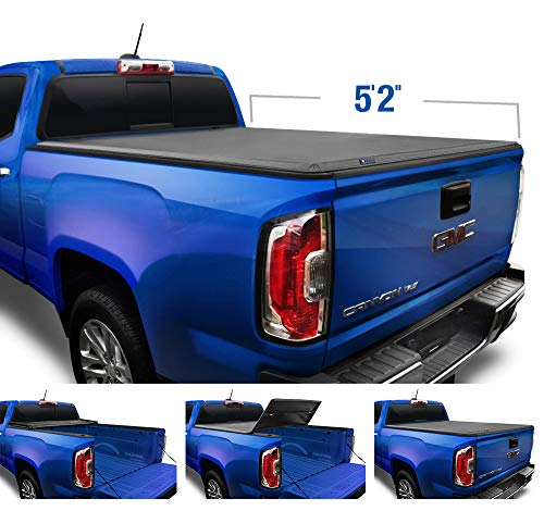 "Tyger Auto T3 Soft Tri-Fold Truck Bed Tonneau Cover Compatible with 2015-2021 Chevy Colorado / GMC Canyon | Fleetside 5'2"" Bed (62"") 