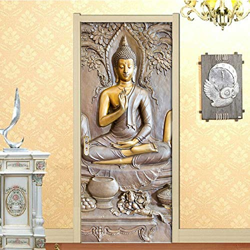 3d türaufkleber türtapete wandbild selbstklebend pvc Buddha 77x200cm Art decals Kreative Poster Tapete Türfolie Wasserdicht Abnehmbare Dekoration Für Schlafzimmer Fototapete