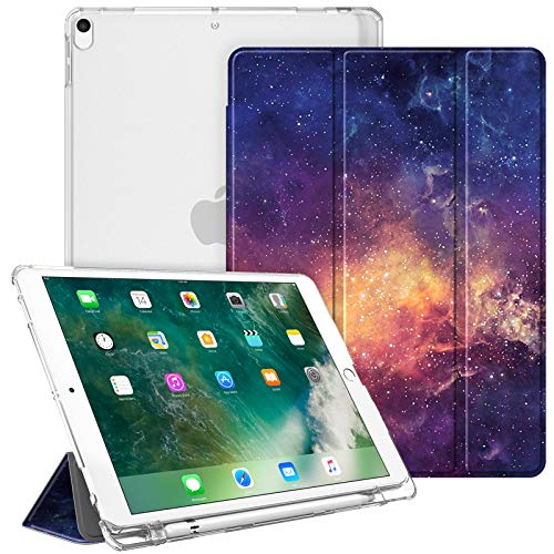 Fintie Case for iPad Air 10.5' (3rd Gen) 2019 / iPad Pro 10.5' 2017- Lightweight Slim Shell Standing Cover with Translucent Frosted Back Cover with Pencil Holder, Auto Wake/Sleep, Galaxy