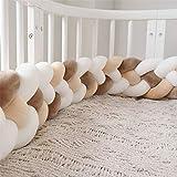 ZQ Bettumrandung Kinderbett Baby Nestchen 4 Weben Krippe Babybett Kantenschutz Kopfschutz Kinderbett Stoßstange Sternchen Knotenkissen Geflochtene Dekoration 220cm (Milch weiß-weiß-Hellbraun-beige)