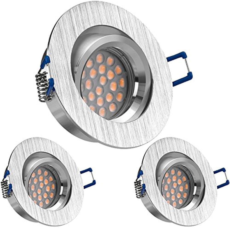 LEDANDO 3er LED Einbaustrahler Set BiFarbe (chrom   gebürstet) mit LED GU10 Markenstrahler von LEDANDO - 5W Dimmbar - Warmweiss - Schwenkbar - Einbauleuchte LED rundLEDANDO 3er LED Einbaustrahler Set BiFarbe (chrom   gebürstet) mit LED GU10 Markenstrahler