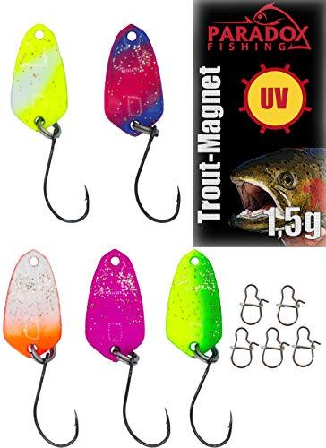 Paradox Fishing Set di 5 Spoons da 1,5g con Scatola e 5 Esche per trote - spoon trout area