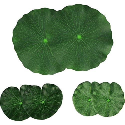 Vpsan künstlichen Floating Foam Lotus Blätter Laub Teich Decor 6 Stück (30 cm + 18 cm + 15 cm, 6 Stück) (Lotus Leaves)