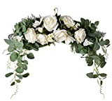 LSKYTOP Artificial Rose Daisy Flower Eucalyptus Swag,18 Inch Decorative Swag with Rose Daisy and Green Eucalyptus Leaves for Wedding Arch Front Door Wall Decor (White)