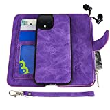 Google Pixel 4 Case, Modos Logicos [Detachable Wallet Folio][2 in 1][Zipper Cash Storage][Up to 14 Card Slots 1 Photo Window] PU Leather Purse with Removable Inner Magnetic TPU Case - Purple