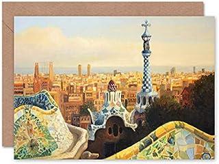 Fina konsttryck park guell målning Barcelona gratulationskort med kuvert inuti premiumkvalitet