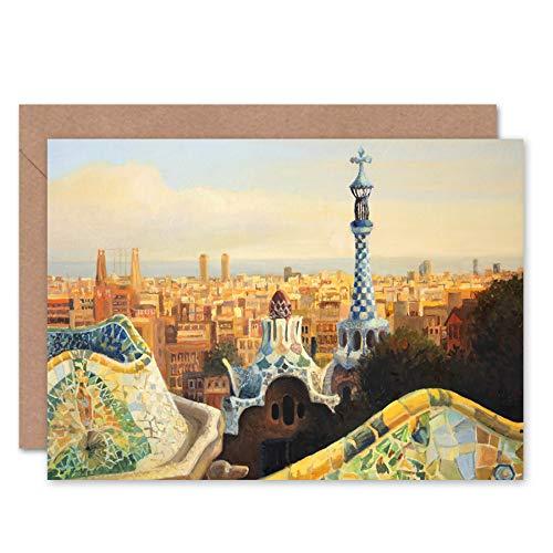 Fine Art Prints Park Guell Painting Barcelona Grußkarte mit Umschlag im Inneren, Premium-Qualität