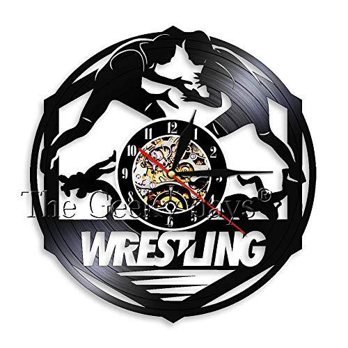 FDGFDG Wrestling Vinyl Schallplatte Wanduhr Einzigartige handgemachte Wrestle Sign Sport Dekor Uhr Uhr Gymnasium Moderne Quarz Dekor Wanduhr