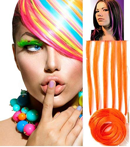 Silly stuff funy jewelu FRANCE HAIR BEAUTE 6 Extensions Cheveux Oranges Fixation A Froid. SYSTEME DE Fixation Offert. Emballage Cadeau Offert + 1 Plan