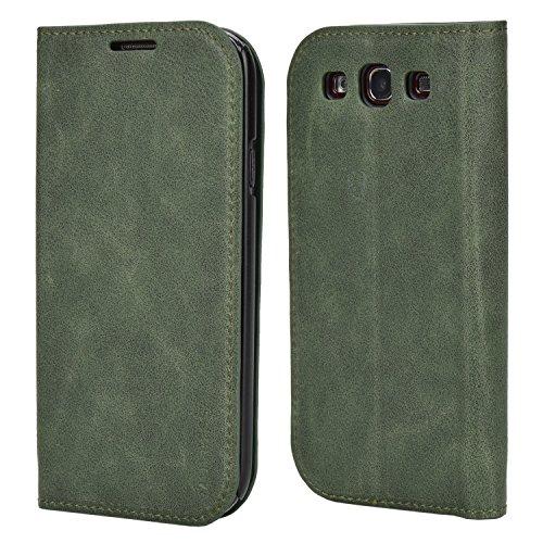 Mulbess Handyhülle für Samsung Galaxy S3 Hülle Leder, Samsung Galaxy S3 Handytasche, Slim Flip Schutzhülle für Samsung Galaxy S3 / S3 Neo Case, Grün