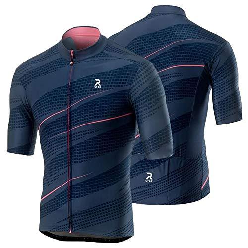 R Star Cycling Jersey Bicycle Cycling Clothes MTB Road Bike Riding Shirt Quick Dry Mountain Bike Cycling Jersey (XS,Dark Blue)