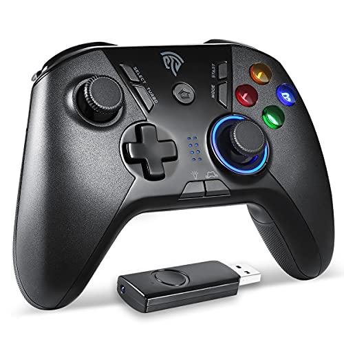 REDSTORM Controller PC / PS3 Wireless Gaming Controller da 2.4 GHz Joystick LED Regolabile e Doppia Vibrazione, Gamepad TURBO Compatibile con Windows / PS3 / Switch / Android / TV Box