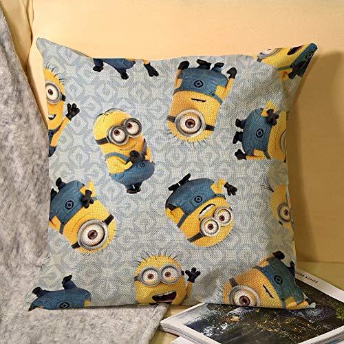Minions Home - Funda de cojín de lino decorativo suave para sofá, 45 cm x 45 cm