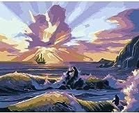 番号による絵画大人と子供のためのフレームレスDIY絵画プレプリントキャンバス40x50cm雲のペア40x50cm