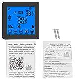 Neufday Termostato LCD Digital, termostato de calefacción programable WiFi Inteligente Controlador de Temperatura inalámbrico LCD Digital Negro