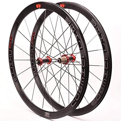ZCXBHD Bicicleta Carretera Ruedas 700C Wheelset 40mm Llantas Aluminio 19.2mm Ancho Ultra-Ligh Tubo Fibra Carbono hub Hub 1990g Rojo for (V/C Freno) (Color : Black)