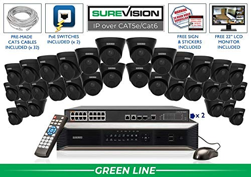 Why Choose SUREVISION 32 Camera 4MP Complete Indoor/Outdoor Vandal Dome IP System (Black) - CCTVSecu...